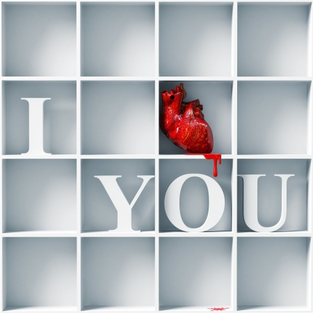 cynical: anatomic heart -I love you message  3D concept  Stock Photo