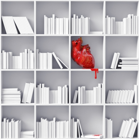 cynical: anatomical  heart on the bookshelves  3D concept  Stock Photo