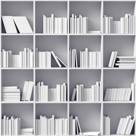 white bookshelves   illustrated concept   photo