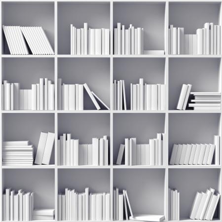 witte boekenkasten geïllustreerd begrip