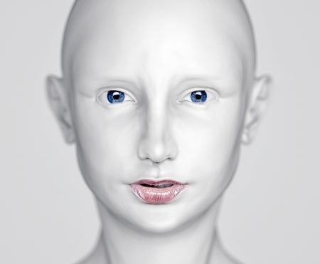 3D white beautiful woman head  photo