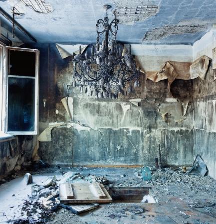 abandoned house window: old abandoned burned interior photo
