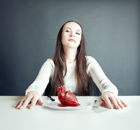 beautiful woman and human heart on the plate  concept  Stock Photo - 17592847