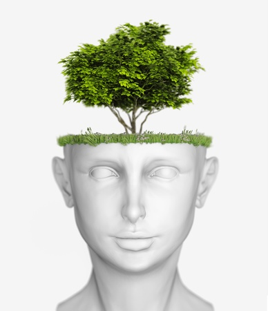 white human head with tree  3D concept  photo
