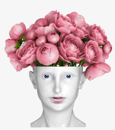 human head as an vase for flowers photo