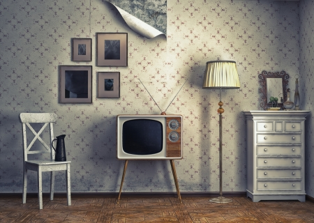 tv antenna: obsolete retro interior  photo and cg elements combinated  Stock Photo