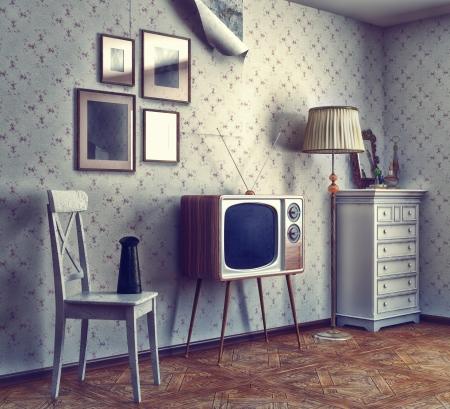 obsolete Retro-Interieur Foto-und CG-Elemente kombiniert, Textur und Korn hinzuzufügen