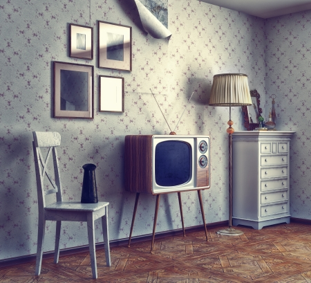 tv retro: obsolete retro interior  photo and cg elements combinated, texture and grain add  Stock Photo