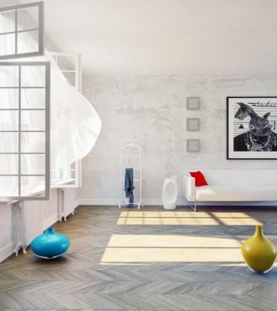 curtain design: modern loft with open window