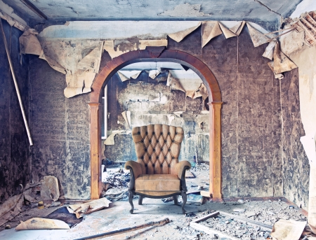 hdr background: old abandoned burned interior photo