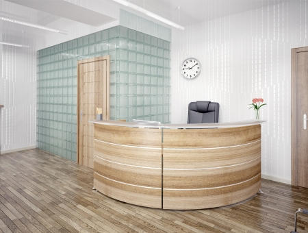 reception table: A reception area - modern interior