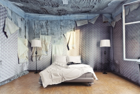 abandoned room: luxury bed in abandoned interior