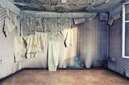 dilapidated wall: old abandoned  interior  photo