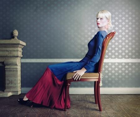 young beautiful woman, posing in vintage interior Stock Photo - 18030859