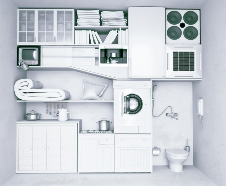 illustrated: set of home improvement objects (illustrated concept)