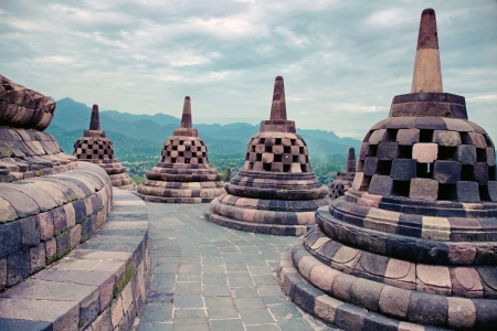 Borobudur Temple at sunrise Java Indonesia   photo