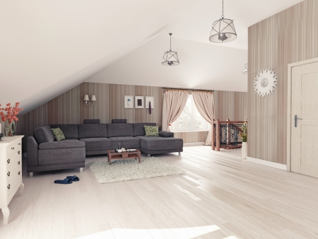 attic: Interior hall attic  3D rendering  Stock Photo