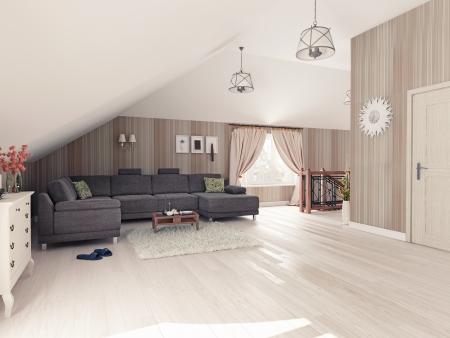 loft living: Interior hall attic  3D rendering  Stock Photo