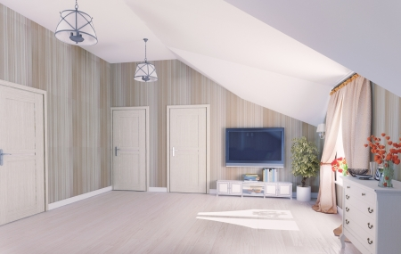 Interior hall attic  3D rendering  Stock Photo - 19526612