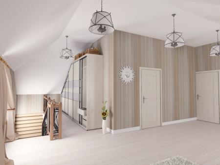 Interior hall attic  3D rendering  Stock Photo