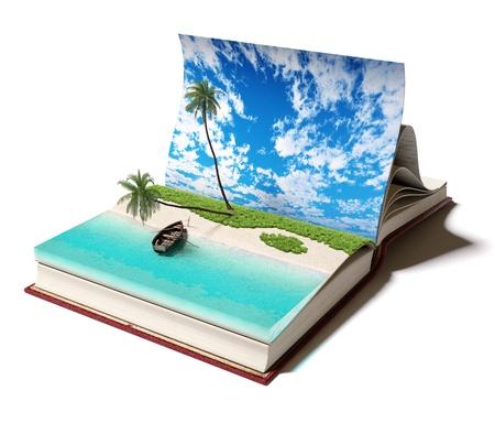 story: Abra el libro con una playa tropical en el interior del concepto 3d Foto de archivo