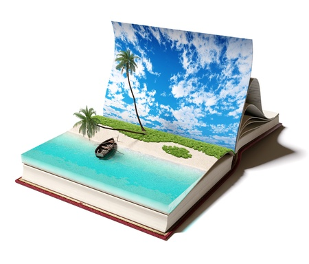 adventure story: Open book with a tropical beach inside  3d concept Stock Photo