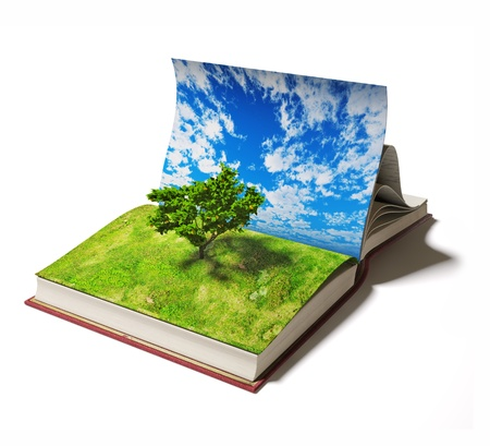 overgrown: open book with tree on the  page  Ilustrated concept