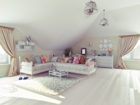 attic: the interior of the attic in the style of Provence