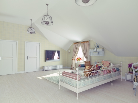 the interior of the attic in the style of Provence  photo