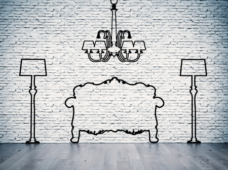 white brick wall: Black silhouettes of the furniture line before white brick wall