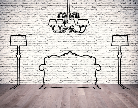 Black silhouettes of the furniture line before white brick wall Stock Photo - 19526674