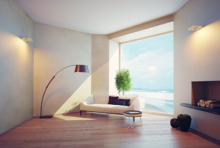 modern living room: modern interior with window views of the ocean
