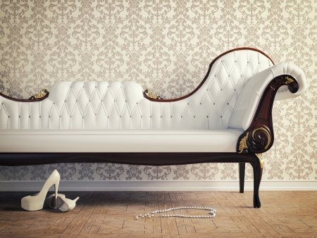 sofa furniture: vintage sofa and wallpaper wall  retro-style illustration  Stock Photo