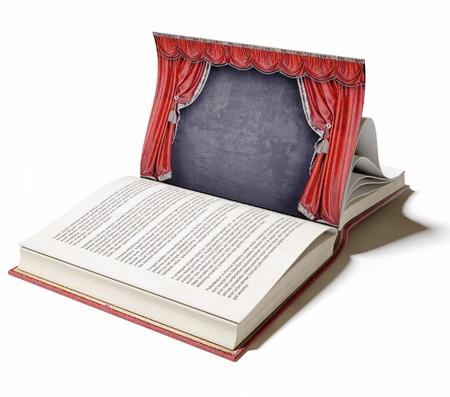 Theater Bühne mit roten Vorhängen auf der Buchseite dargestellten Konzept