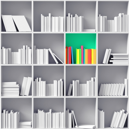 partition: white bookshelves with one color  partition    illustrated concept