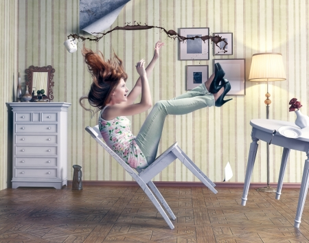 red chair: girl falls from a chair in vintage room Stock Photo