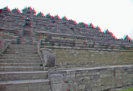 Borobudur Temple Java Indonesia  Anaglyph stereo  you need use cyan red glasses to take 3d effect  photo