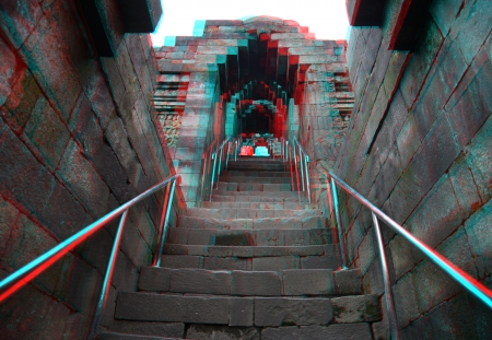 3d temple: Borobudur Temple Java Indonesia  Anaglyph stereo  you need use cyan red glasses to take 3d effect  Stock Photo