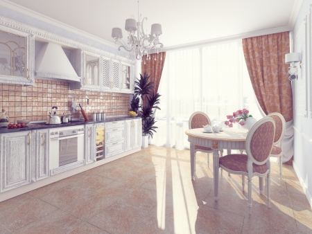 molding: Interior of fashionable kitchen. cg