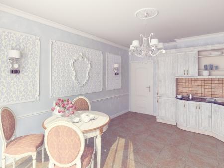 window curtain: Interior of fashionable kitchen 3D render Stock Photo