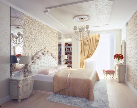 Modernen Luxus-Schlafzimmer Interieur 3D-Rendering Standard-Bild - 21452723