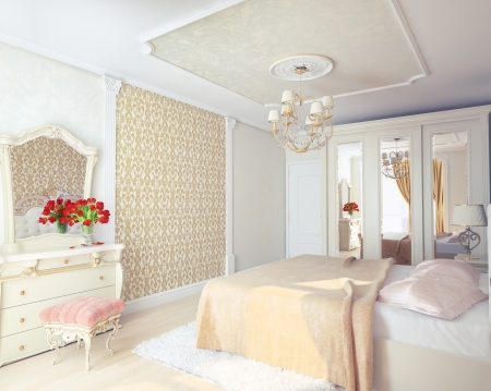 Modernen Luxus-Schlafzimmer Interieur 3D-Rendering Standard-Bild - 21452608