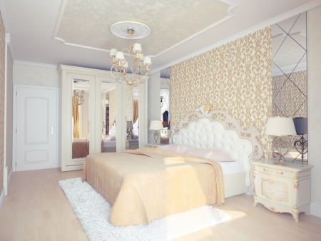 modern luxury bedroom interior  3D rendering   photo