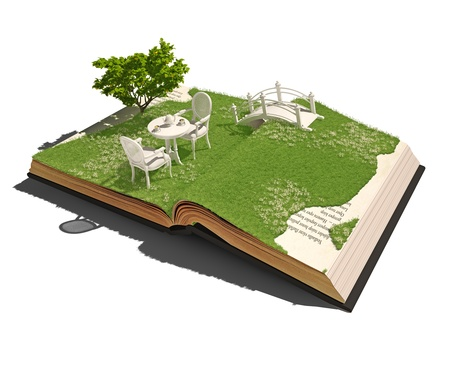 overgrown: open book with table and chairs on the meadow  3d concept