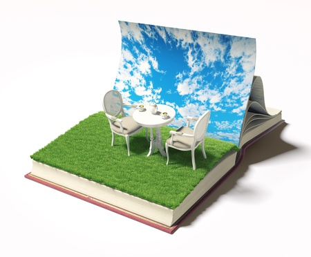 dinning table: open book with table and chairs on the meadow  3d concept
