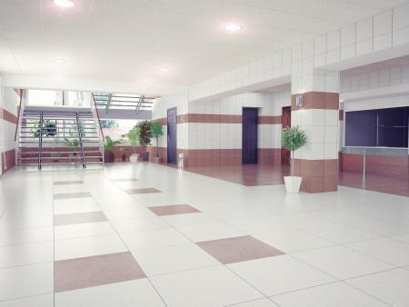 shiny floor: modern building hall design interior  Stock Photo