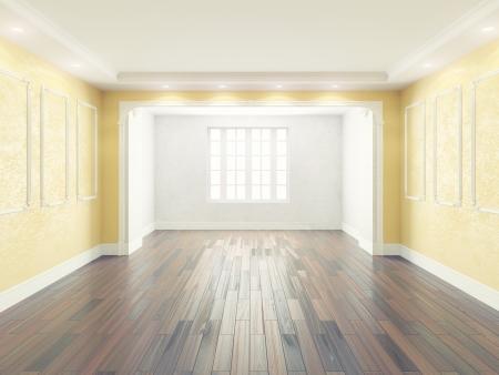 Leeren Innenraum mit gelben Wänden Standard-Bild - 21800857