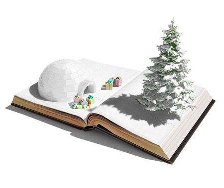 igloo with  christmas gifts on the open book  3d concept  photo