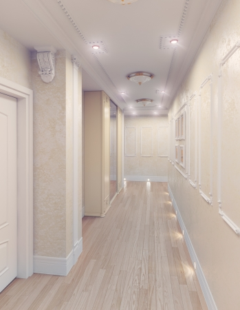 modern interior of home corridor  3D rendering photo