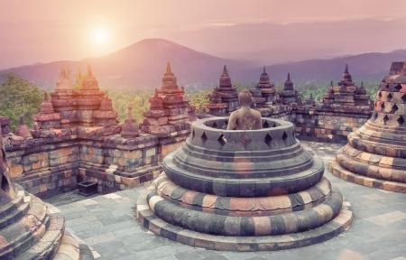 stupas: Borobudur Temple at sunrise Java Indonesia